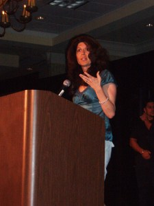 Anna DeStefano accepts a Reviewers Choice Award for Best Harlequin SuperRomance
