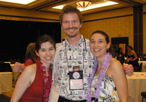 Marketing Manager Erin Galloway, PRESSURE author Jeff Strand, and me at the Dorchester beach party.