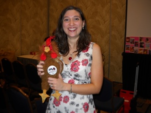 Me with the much-coveted rooster of the RomanceBandits blog